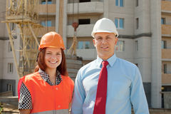 Portrait of two builders Royalty Free Stock Images