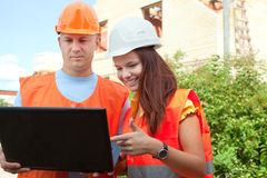 Portrait of two builders Royalty Free Stock Image