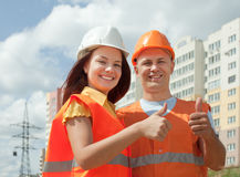 Portrait of two builders Stock Photo