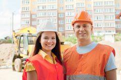 Portrait of two builders Stock Images