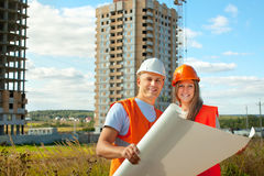 Portrait of two builders Royalty Free Stock Photo