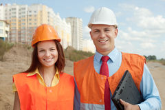Portrait of two builders Royalty Free Stock Photos