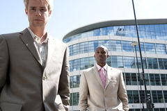 Portrait of Two with Buildings Stock Photography