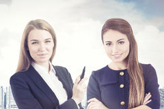Portrait of two business women in a city Royalty Free Stock Photo