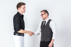 Portrait of two businessmen shaking hands business dealing succe Royalty Free Stock Photos