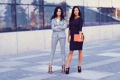Portrait of two businesswomen dressed in a stylish formal clothes, standing in a downtown posing against a background of. A skyscraper Stock Images