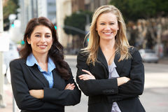 Portrait Of Two Businesswomen Outside Office Stock Images