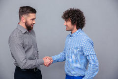 Portrait of a two casual men doing handshake Royalty Free Stock Photos