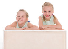 Portrait of two cheerful children Stock Photos