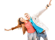 Portrait of two cheerful friends Royalty Free Stock Image