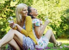 Portrait of the two cheerful girlfriends stock photos
