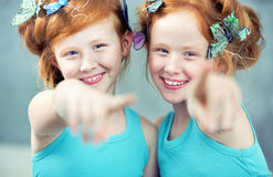 Portrait of two cheerful redhead twins Royalty Free Stock Image