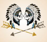 Portrait of two chief indians. North American Indian chiefs with arrows vector illustration
