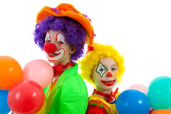Portrait of two children dressed as clowns Stock Photography