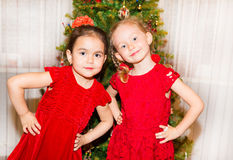 Portrait of two children girls around a Christmas tree decorated. Kid on holiday new year. Portrait of two children girls around a Christmas tree decorated. Kid Stock Photo