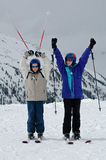 Portrait of two children on skis Royalty Free Stock Photography