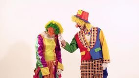 Portrait of two circus clowns kicking friendly and teasing each other stock footage