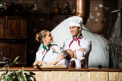 Portrait of two cooks Stock Photo