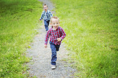 Portrait of two cute little boy child outdoors on Stock Images