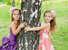 Portrait of two cute little girls Royalty Free Stock Photography