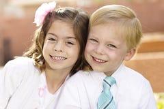 Portrait of two cute little Kids formal dress Stock Photo