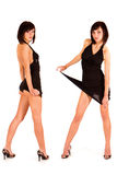 Portrait of two cute sexy twins in black dress Royalty Free Stock Photography