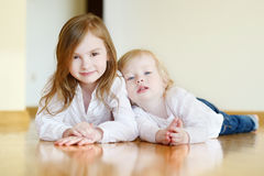 Portrait of two cute sisters Stock Image