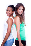 Portrait of two different nationalities girls Stock Images