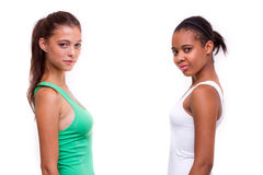 Portrait of two different nationalities girls Royalty Free Stock Photos