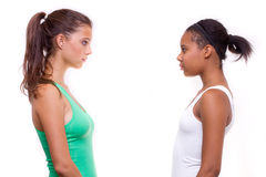 Portrait of two different nationalities girls Stock Photo