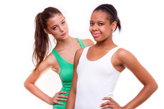 Portrait of two different nationalities girls Stock Photos