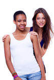 Portrait of two different nationalities girls Royalty Free Stock Images