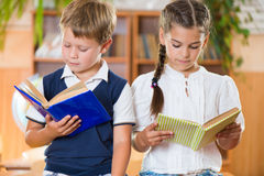 Portrait of two diligent pupil with books Royalty Free Stock Photo