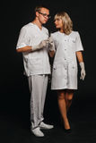 Portrait two doctors wearing white medical uniform Stock Images