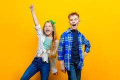 Cheerful couple of children stock photography