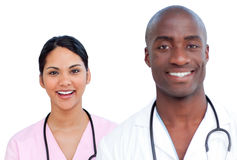 Portrait of two enthusiastic doctors Stock Images