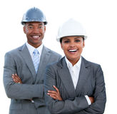 Portrait of two ethnic architects Royalty Free Stock Photography