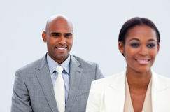 Portrait of two ethnic business people Stock Photos