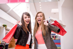Portrait of two excited women with shopping bags Stock Photo