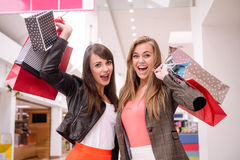 Portrait of two excited women with shopping bags Royalty Free Stock Image