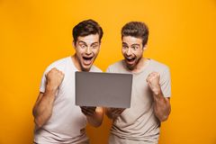 Portrait of a two excited young men best friends stock images