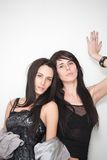 Portrait of two fashionable attractive girl Royalty Free Stock Photo