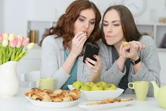 Two female friends looking at smartphone. Portrait of two female friends looking at smartphone Stock Photos