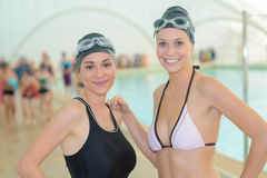 Portrait two female swimmers Royalty Free Stock Photography