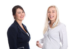 Portrait of two female Trainee - financial business - isolated o Royalty Free Stock Photos