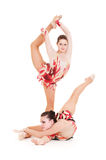 Portrait of two flexible beautiful gymnasts Stock Photo