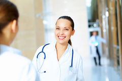 Portrait of two friendly female doctors Royalty Free Stock Image