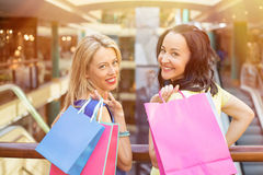 Portrait of two friends with shopping bags Stock Photos