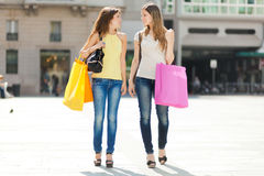 Portrait of two friends shopping together Royalty Free Stock Photography