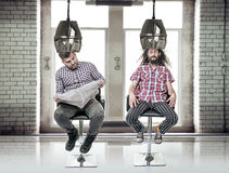 Portrait of a two funny, bored guys at barber`s royalty free stock photos